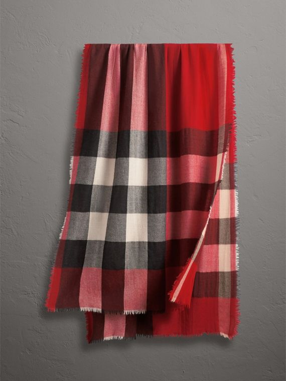The Lightweight Check Cashmere Scarf in Parade Red