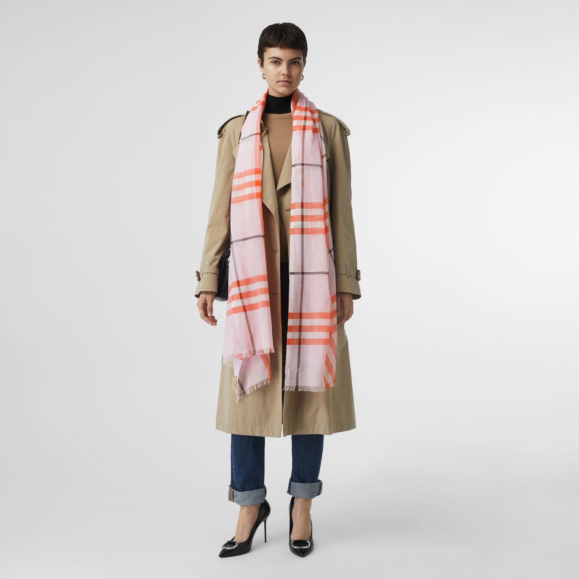 Lightweight Check Wool and Silk Scarf in Pale Blossom | Burberry Singapore - gallery image 2
