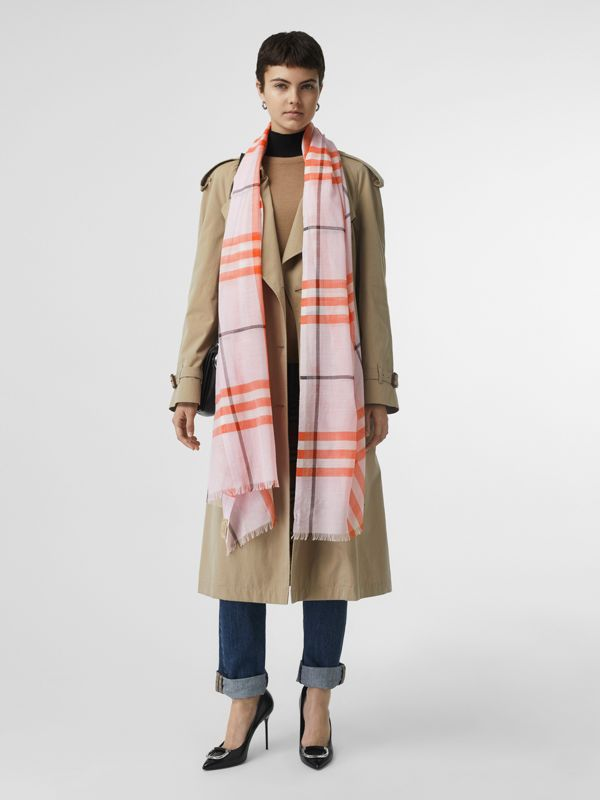 Lightweight Check Wool and Silk Scarf in Pale Blossom | Burberry - cell image 2