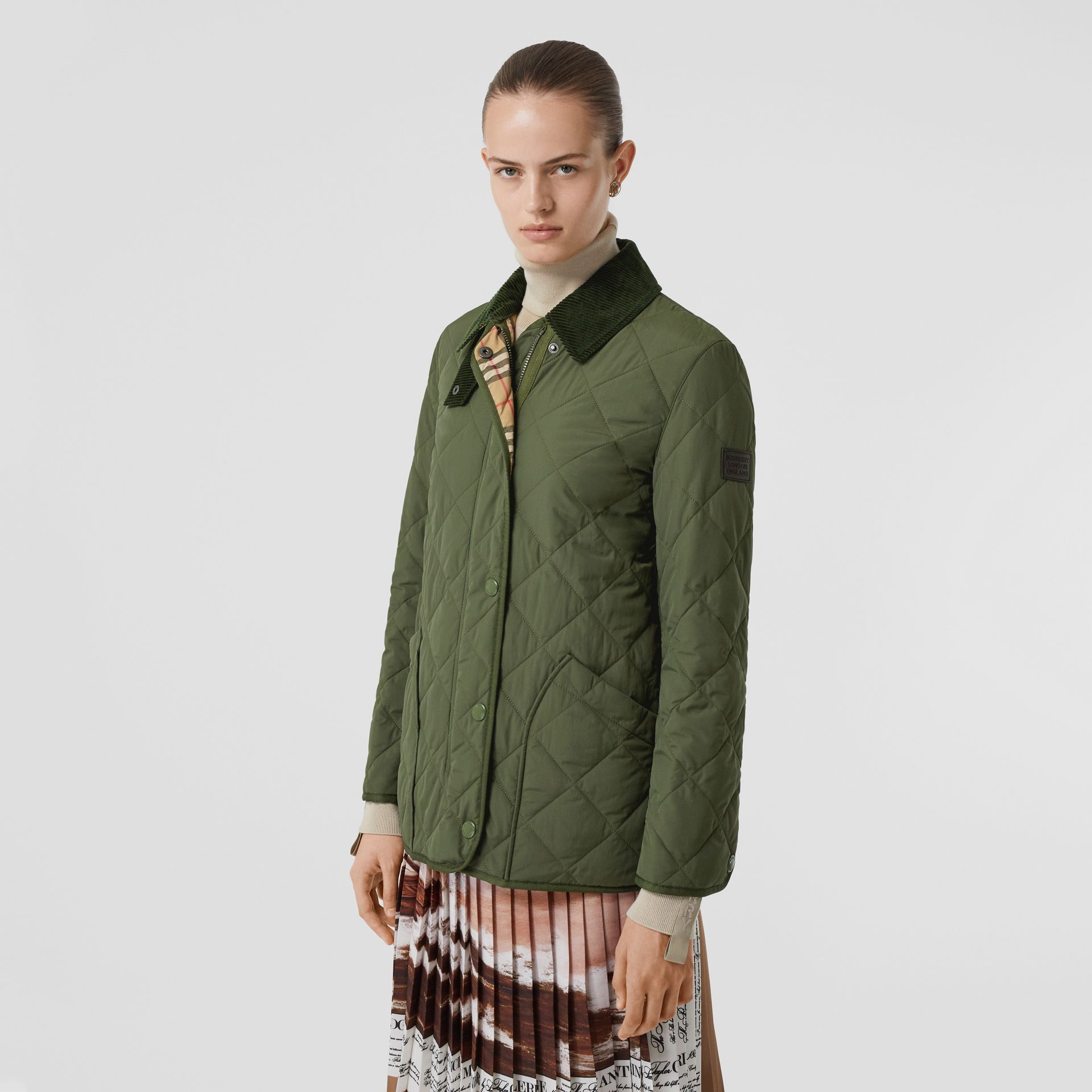 Diamond Quilted Thermoregulated Barn Jacket in Poplar Green - Women | Burberry - gallery image 6