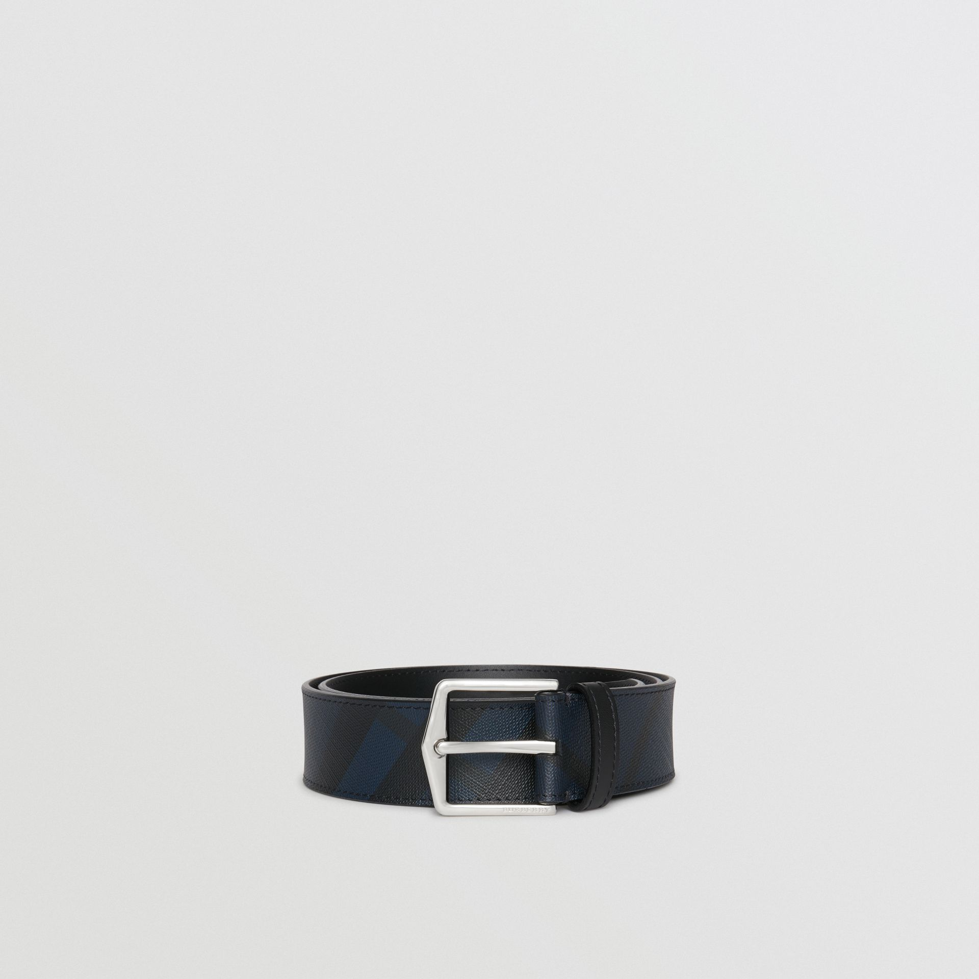 Leather Trim London Check Belt in Navy/black - Men | Burberry - gallery image 0