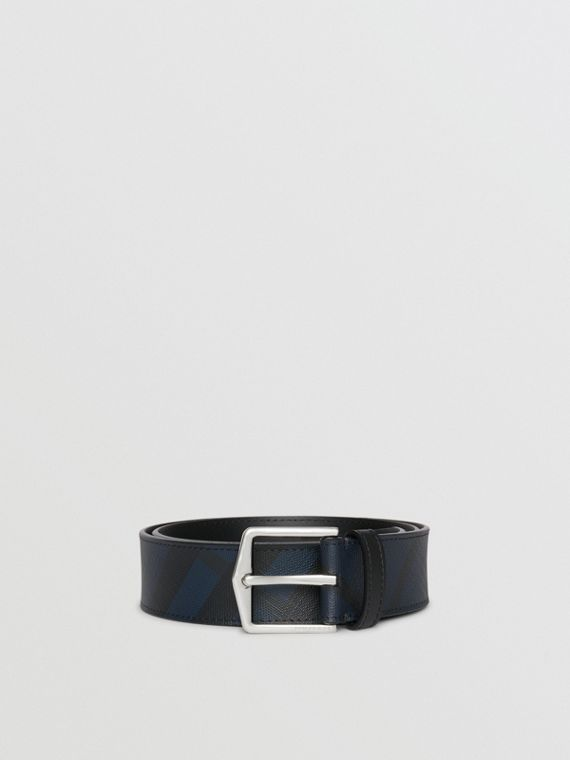 Leather Trim London Check Belt in Navy/black