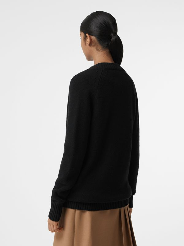 Logo Button Cashmere Cardigan in Black - Women | Burberry United States - cell image 2