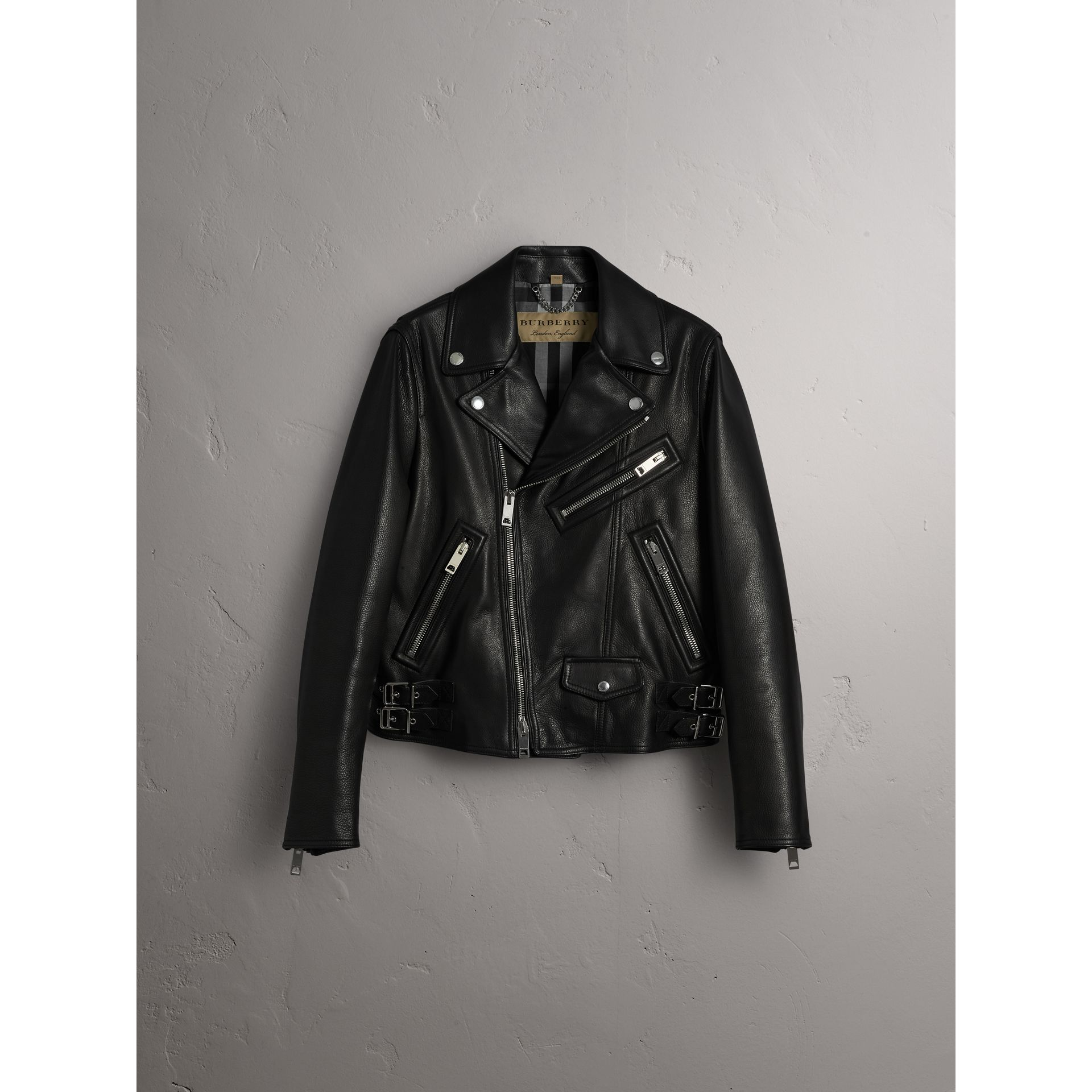 Clean-lined Leather Biker Jacket - Men | Burberry - gallery image 4