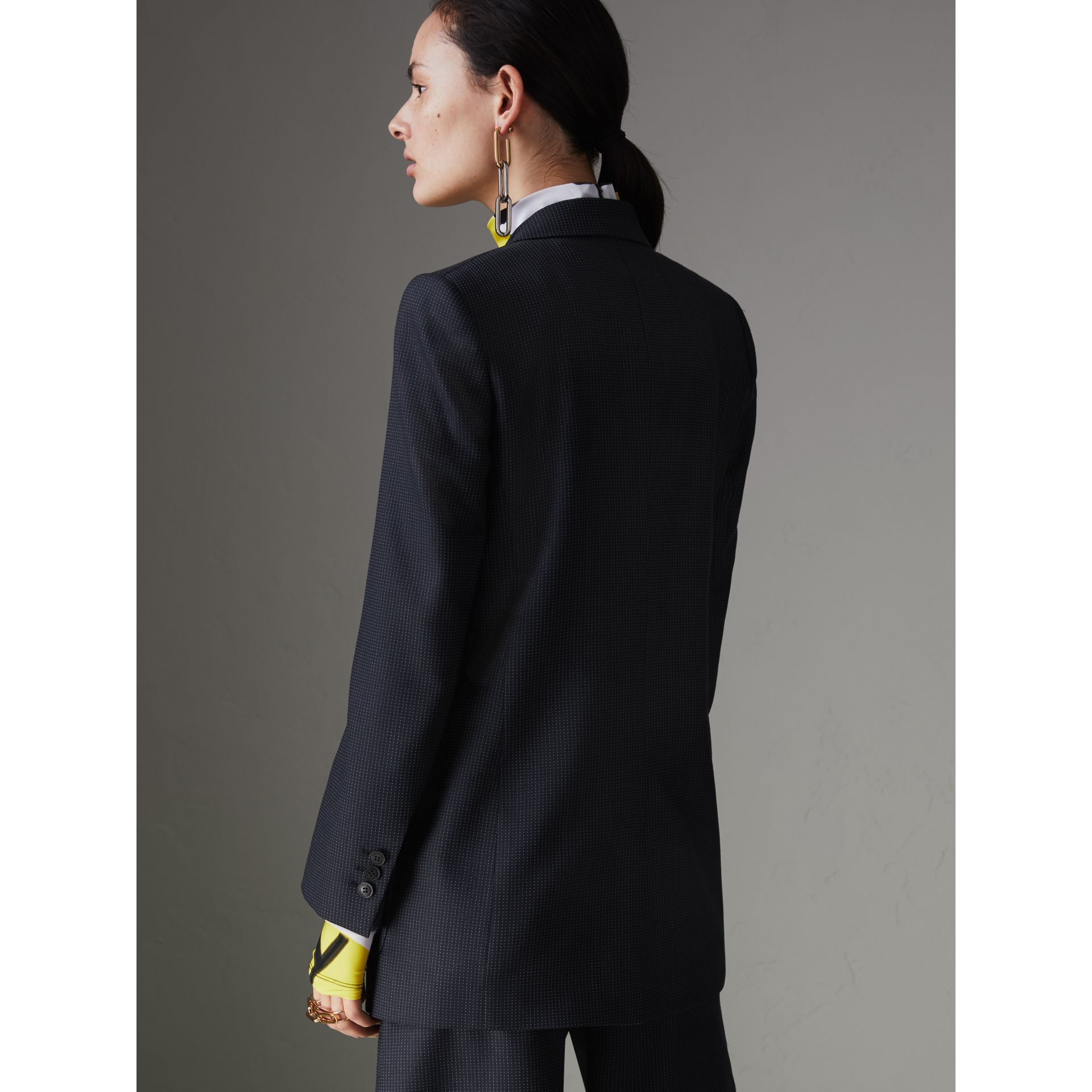 Pin Dot Wool Double-breasted Jacket in Navy - Women | Burberry - gallery image 2