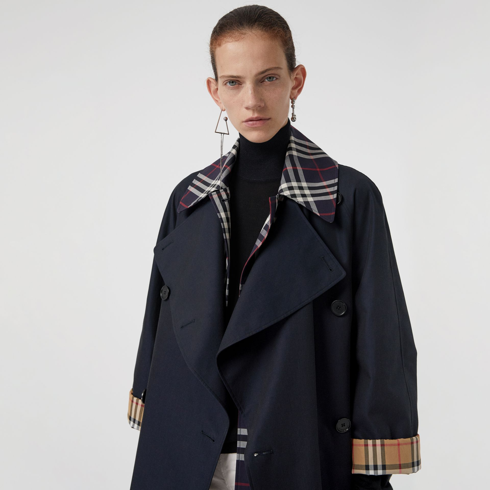 Double-Front Oversized Car Coat in Blue Carbon - Women | Burberry - gallery image 4
