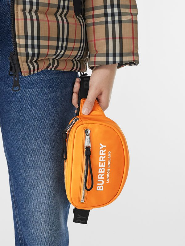 Small Logo Print ECONYL® Cannon Bum Bag in Bright Orange | Burberry - cell image 2
