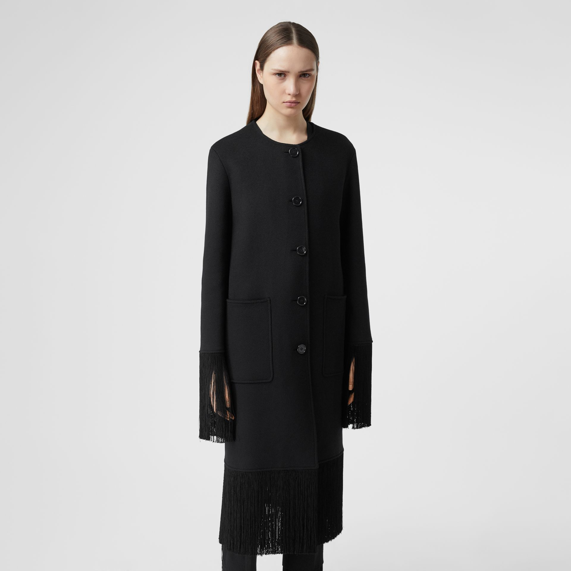 Fringed Double-faced Wool Cashmere Car Coat in Black - Women | Burberry United Kingdom - gallery image 5