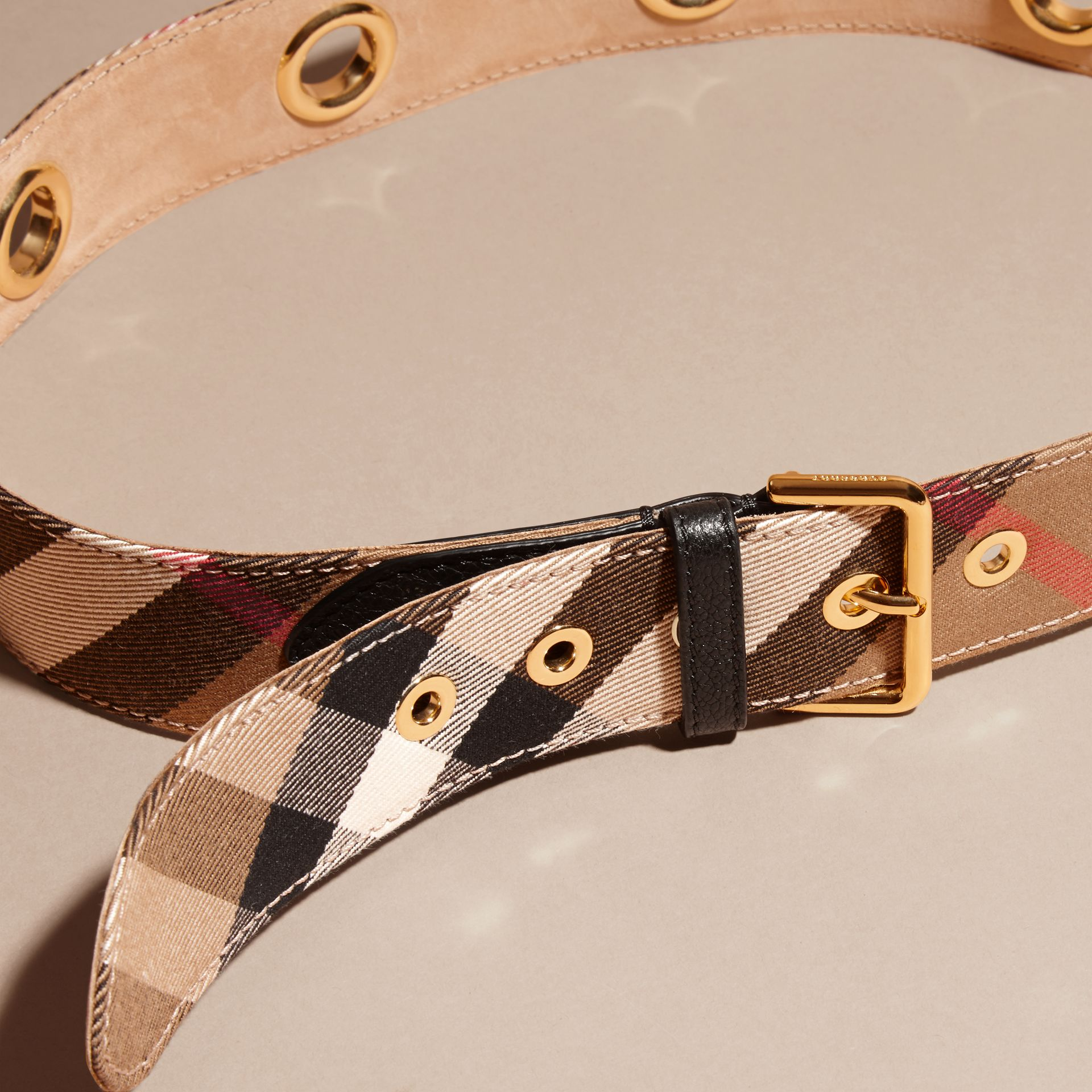 Eyelet Detail House Check Belt - Women | Burberry - gallery image 2