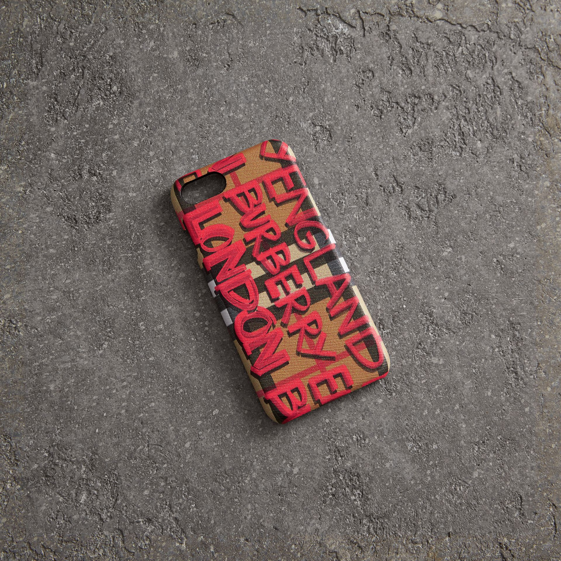 Graffiti Vintage Check Leather iPhone 8 Case in Red | Burberry - gallery image 0