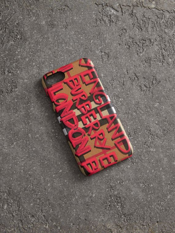 Custodia in pelle per iPhone 8 con motivo Vintage check e graffiti (Rosso)