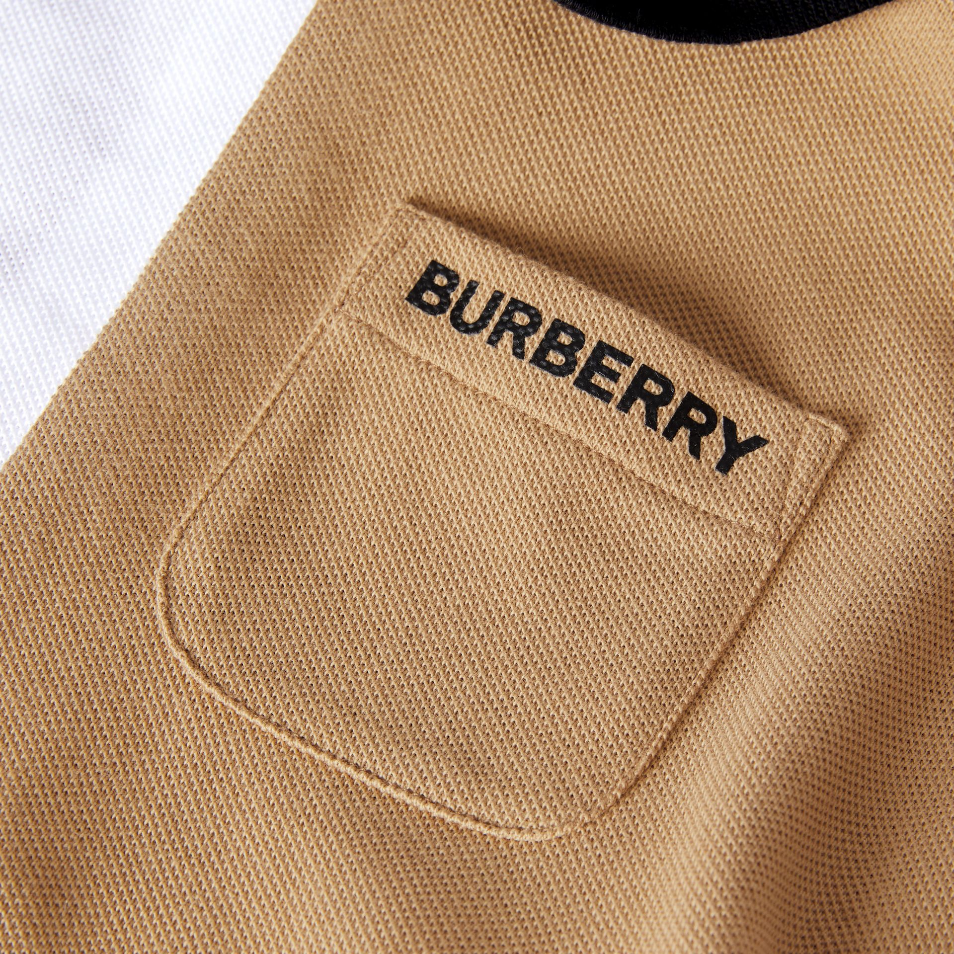 Colour Block Knit Cotton Polo Shirt Dress in Multicolour - Children | Burberry - gallery image 1