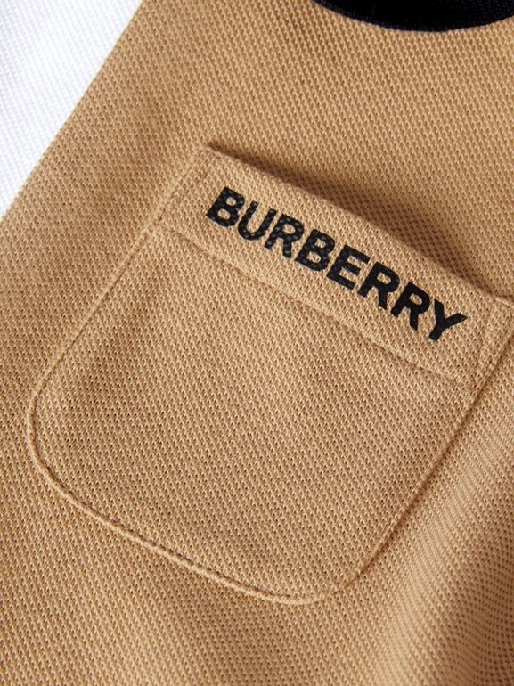 Colour Block Knit Cotton Polo Shirt Dress in Multicolour - Children | Burberry United Kingdom - cell image 1