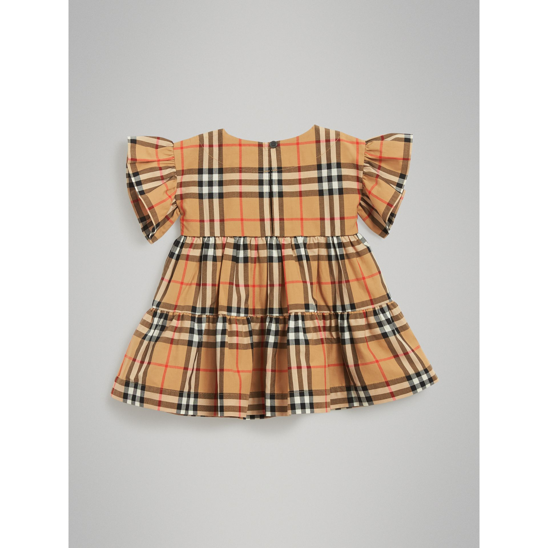 Robe et bloomer à motif Vintage check avec volants (Jaune Antique) | Burberry - photo de la galerie 3
