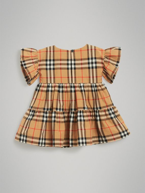 Ruffle Detail Vintage Check Dress with Bloomers in Antique Yellow | Burberry - cell image 3