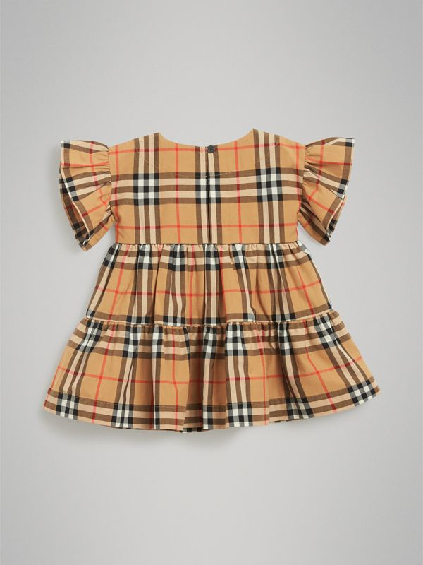 Ruffle Detail Vintage Check Dress with Bloomers in Antique Yellow - Children | Burberry - cell image 3