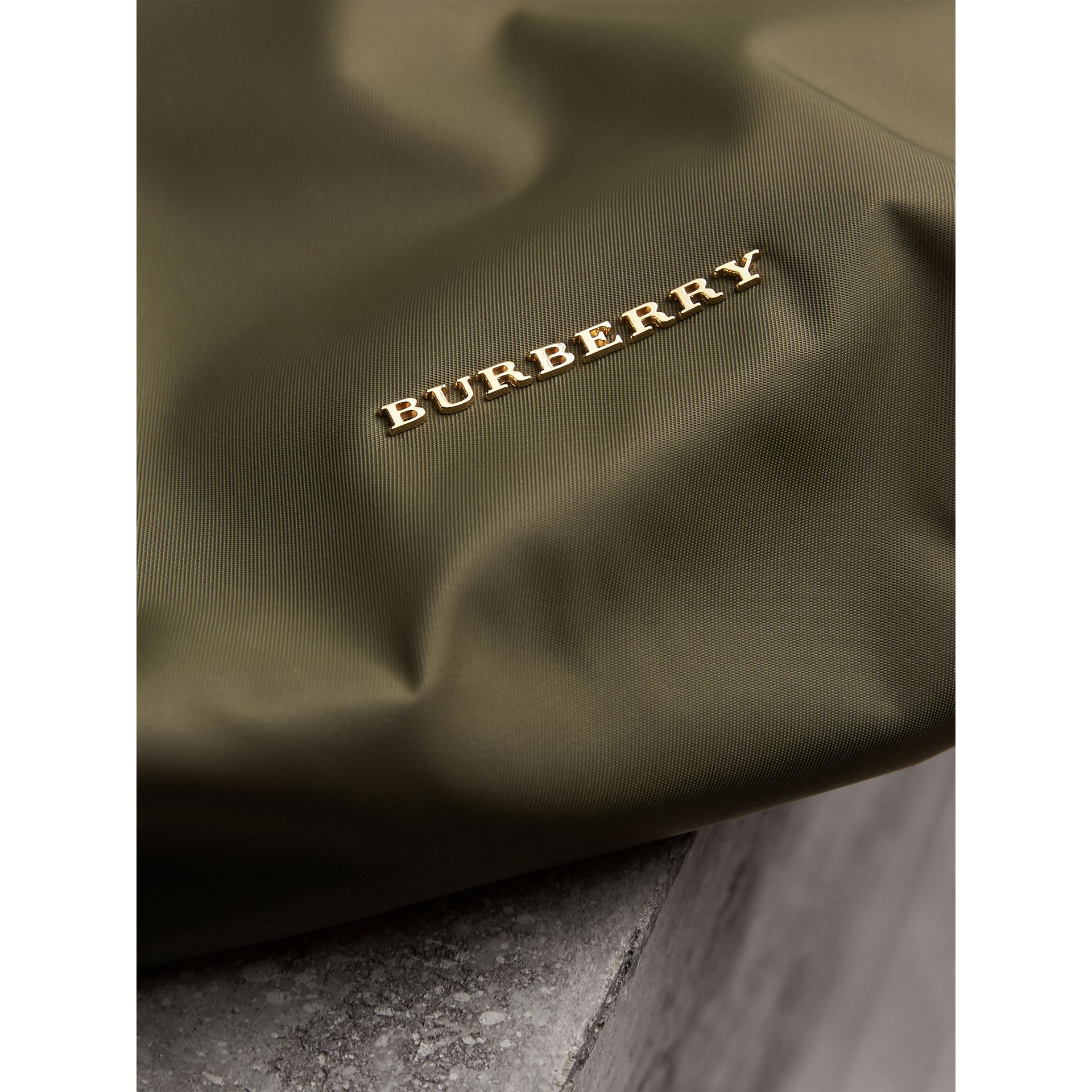 Large Zip-top Technical Nylon Pouch in Canvas Green - Women | Burberry United Kingdom - gallery image 5