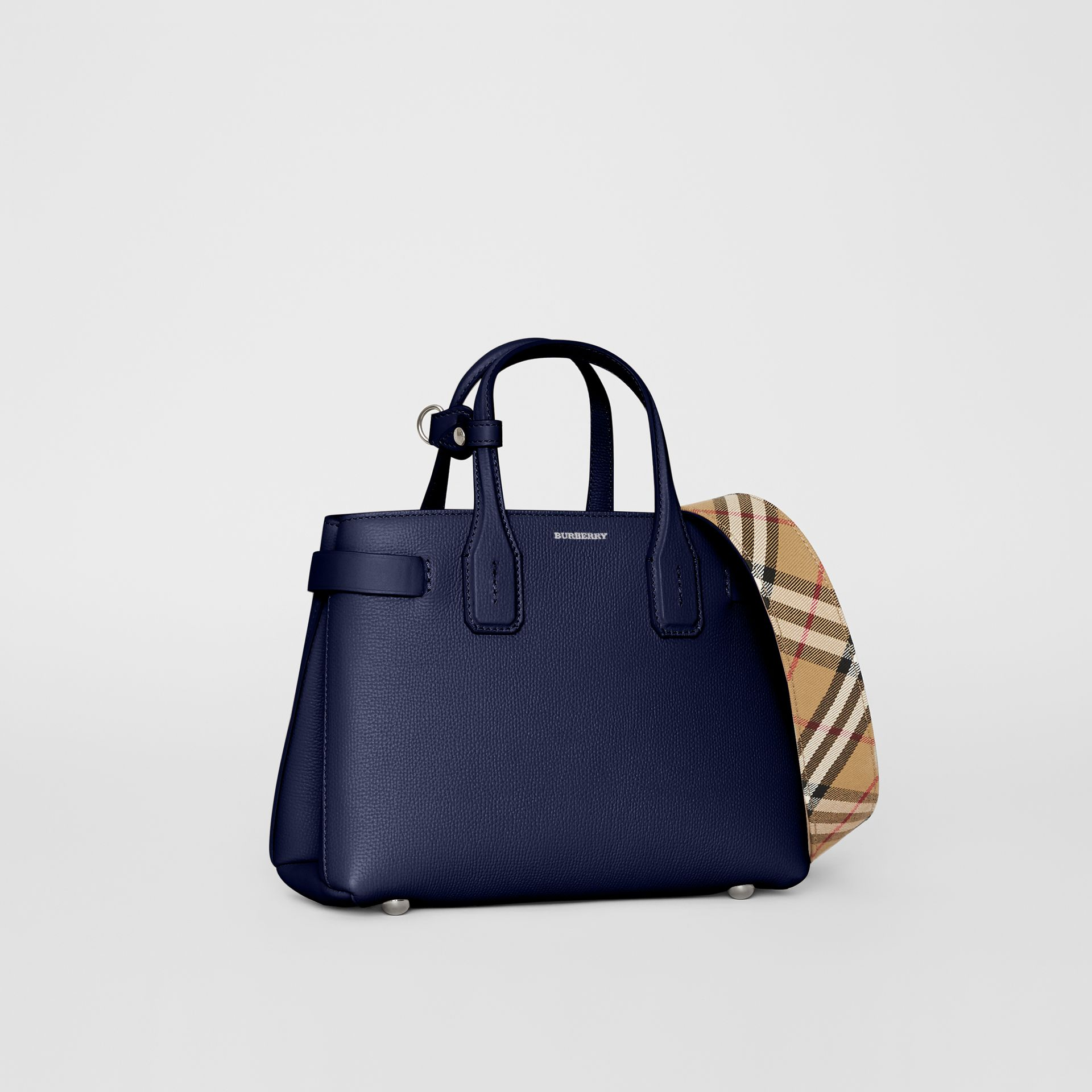 The Small Banner in Leather and Vintage Check in Regency Blue - Women | Burberry - gallery image 1