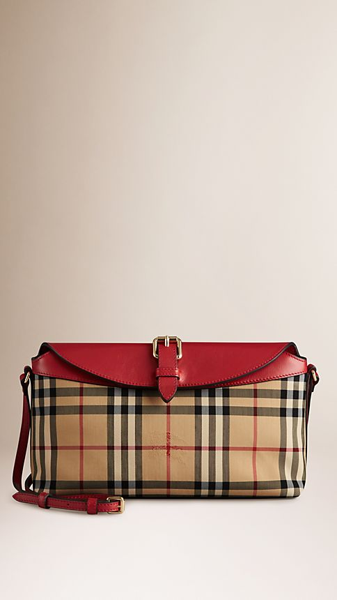 Honey/parade red Small Horseferry Check Clutch Bag - Image 1