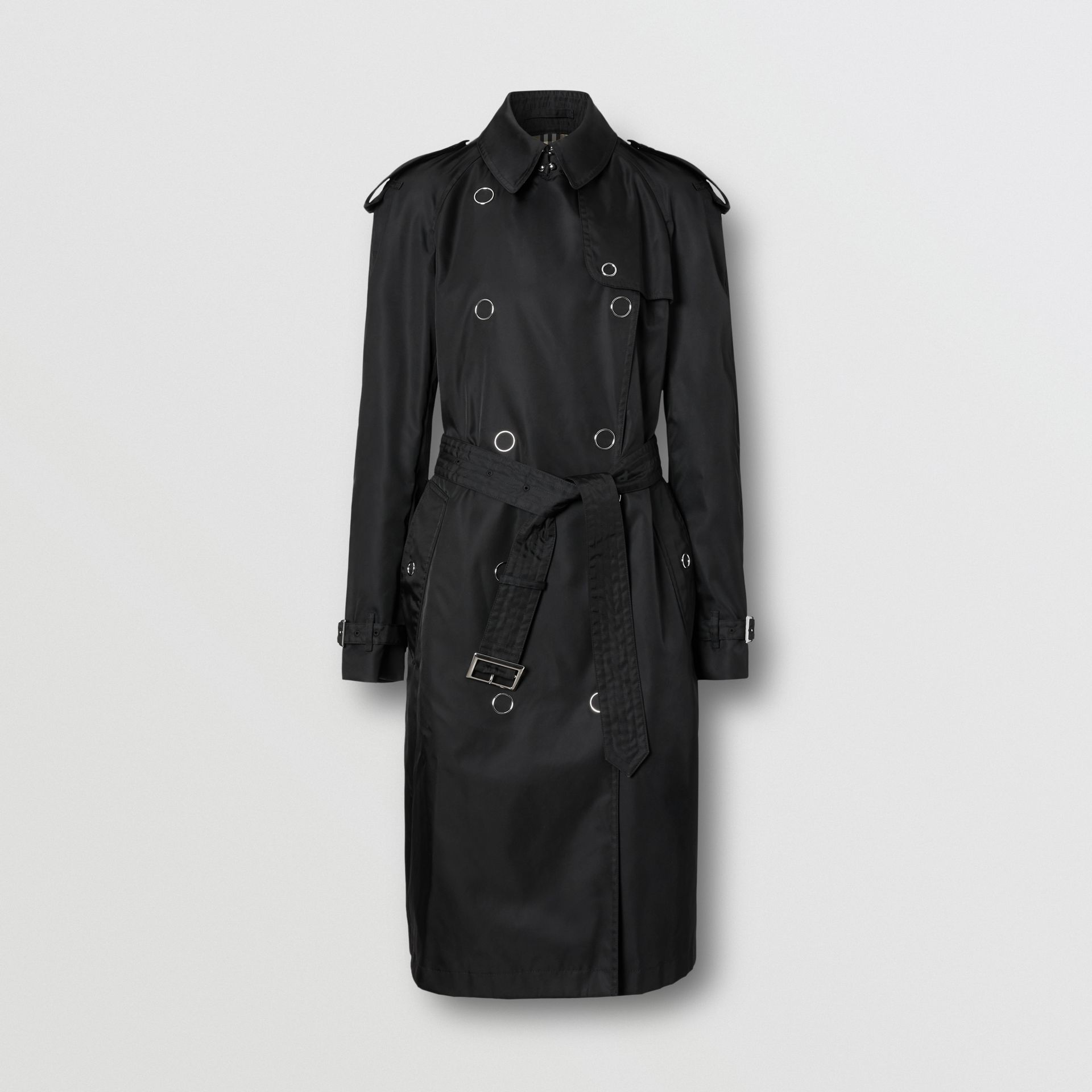 Press-stud Detail ECONYL® Trench Coat in Black - Women | Burberry Canada - gallery image 3