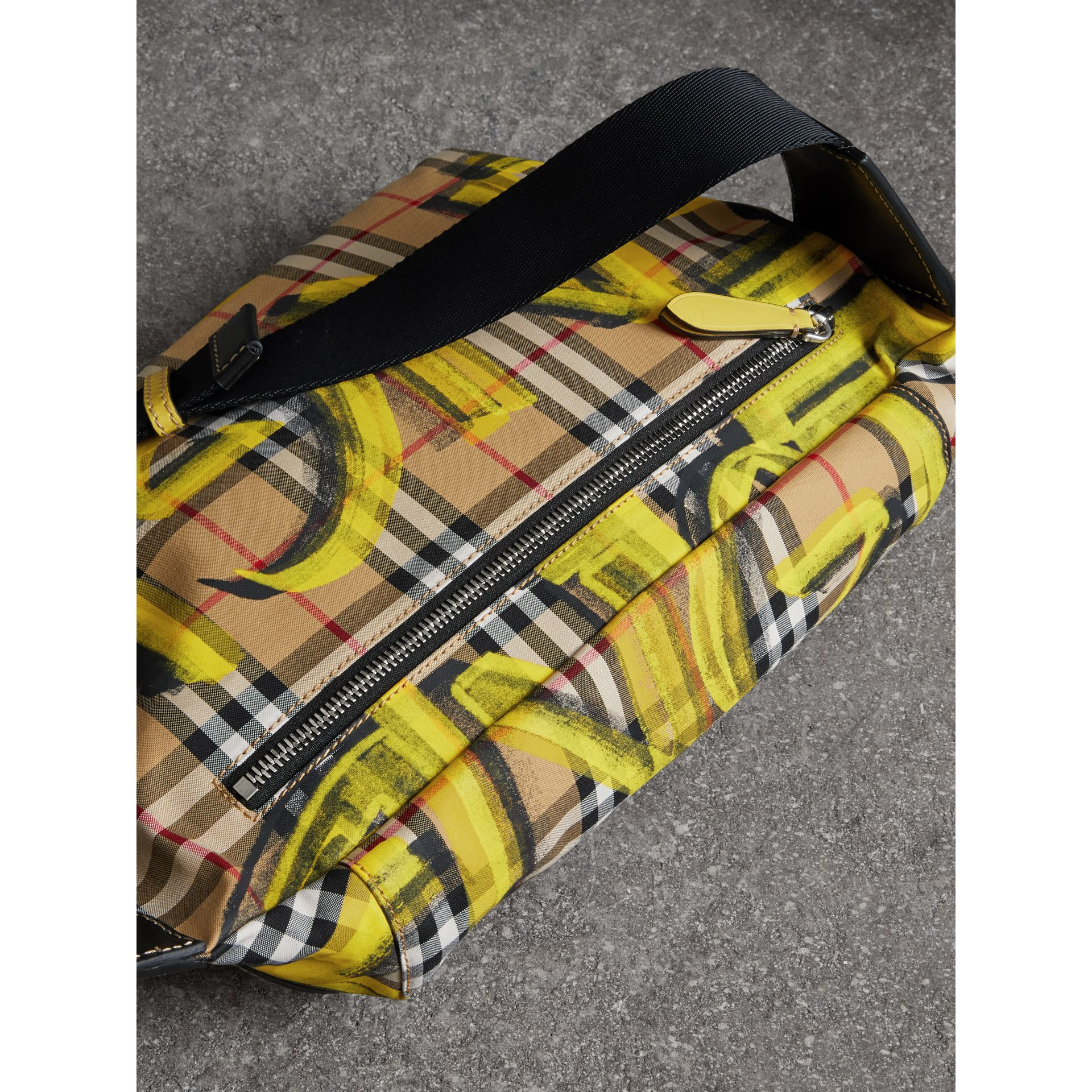 Large Graffiti Print Vintage Check and Leather Bum Bag in Bright Yellow/antique Yellow - Men | Burberry United States - gallery image 4