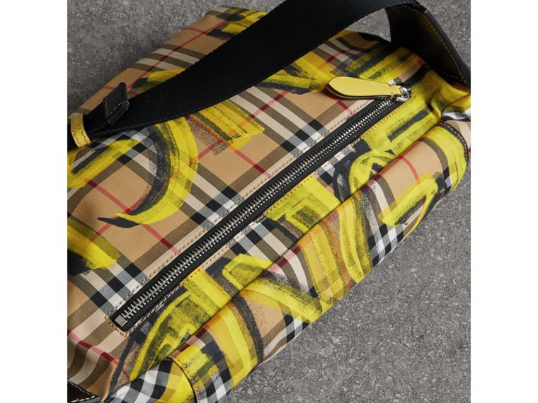 Large Graffiti Print Vintage Check and Leather Bum Bag in Bright Yellow/antique Yellow - Men | Burberry United States - cell image 4