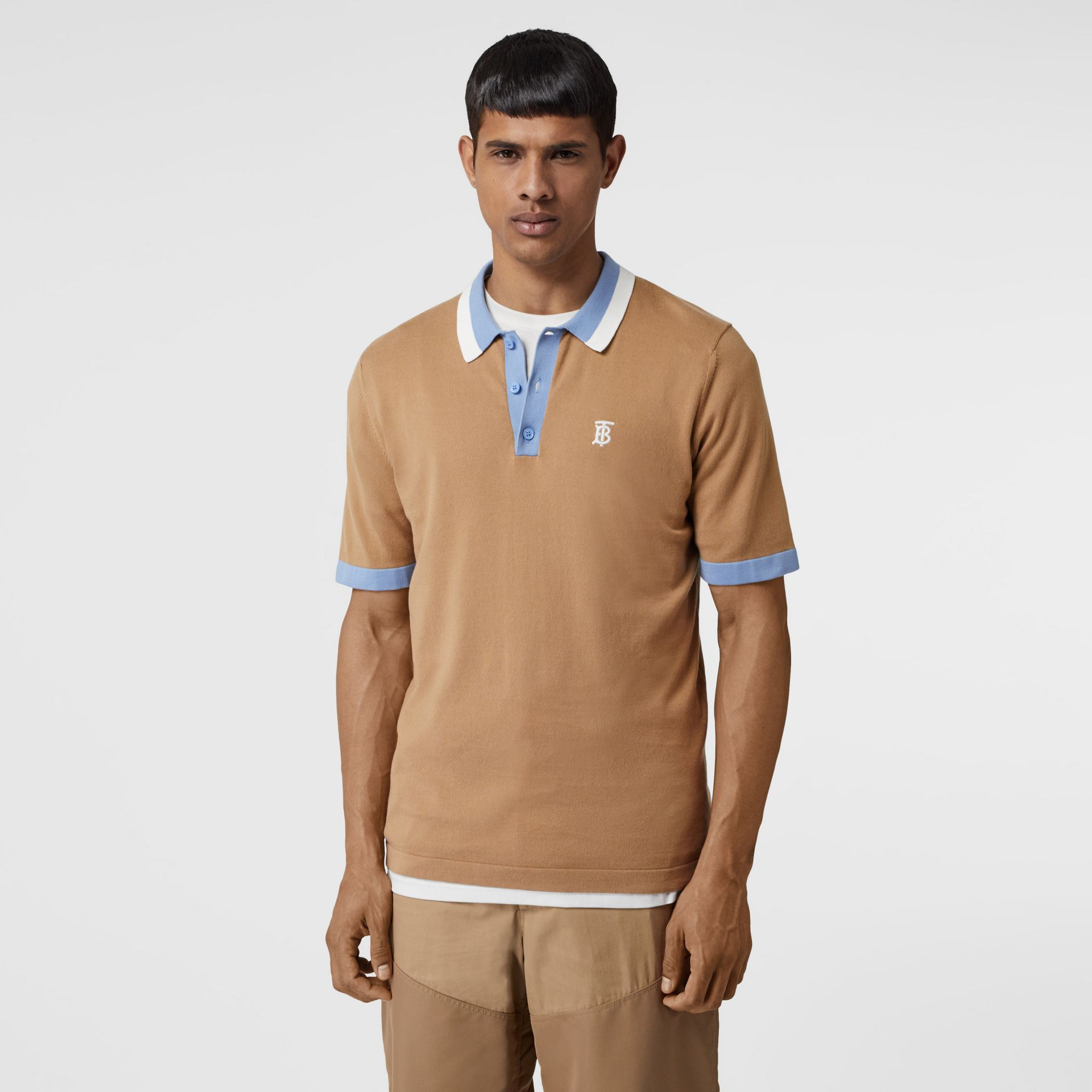 Monogram Motif Tipped Cotton Polo Shirt in Camel - Men | Burberry - gallery image 4