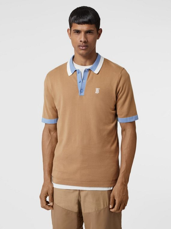 Monogram Motif Tipped Cotton Polo Shirt in Camel