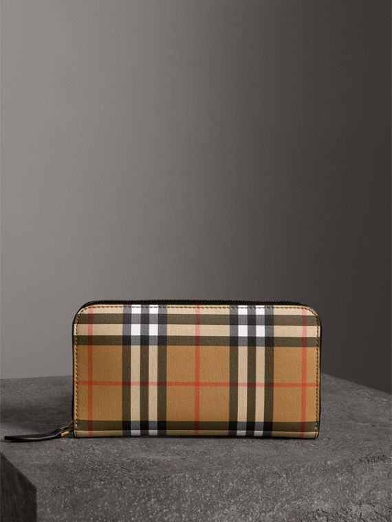 Vintage Check and Leather Ziparound Wallet in Black