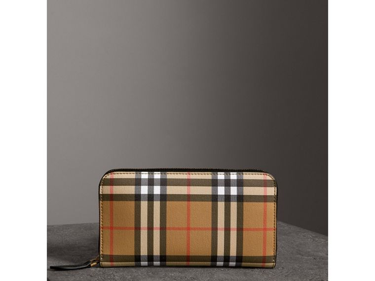 Vintage Check and Leather Ziparound Wallet in Black - Women | Burberry - cell image 4