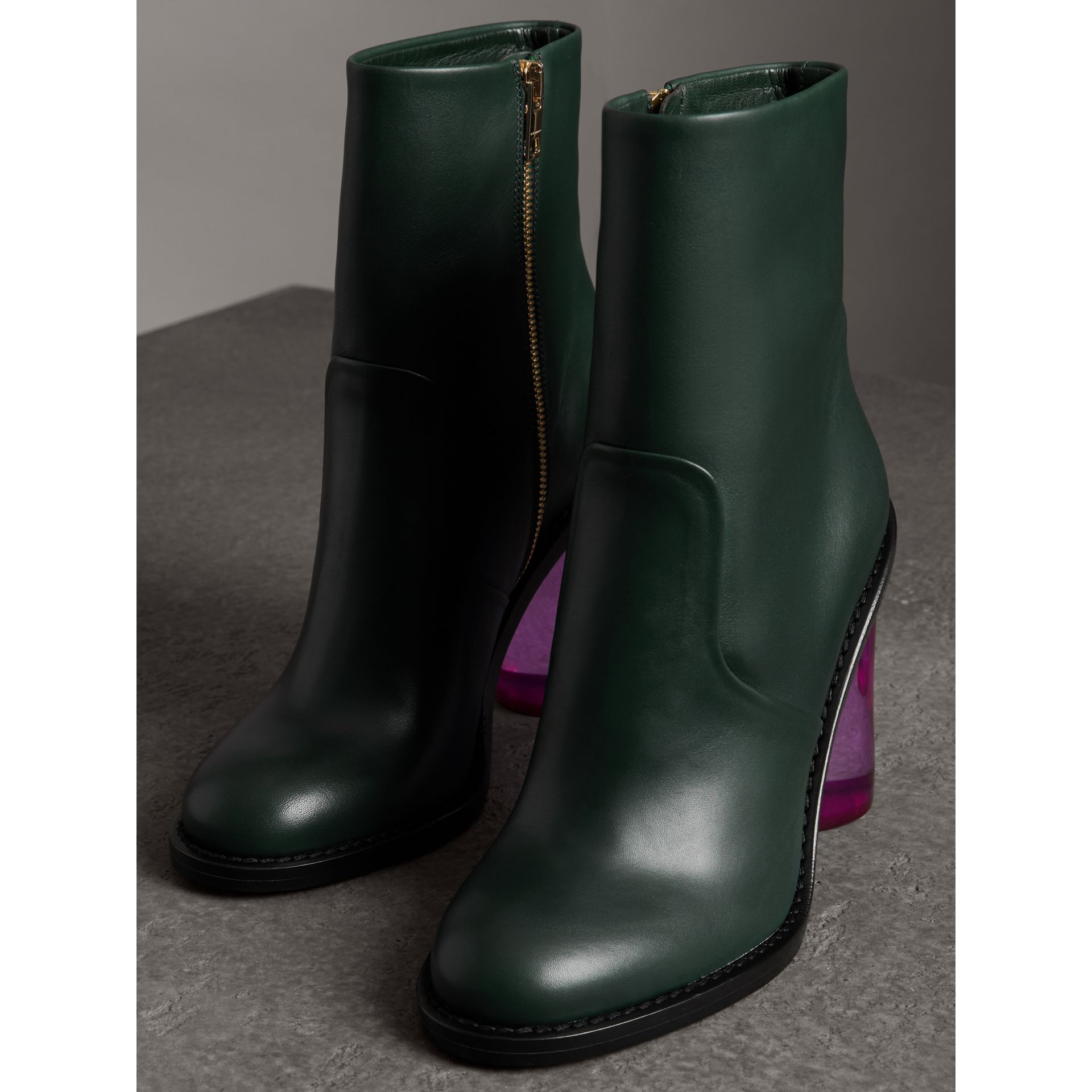Two-tone Leather High Block-heel Boots in Dark Forest Green - Women | Burberry - gallery image 4