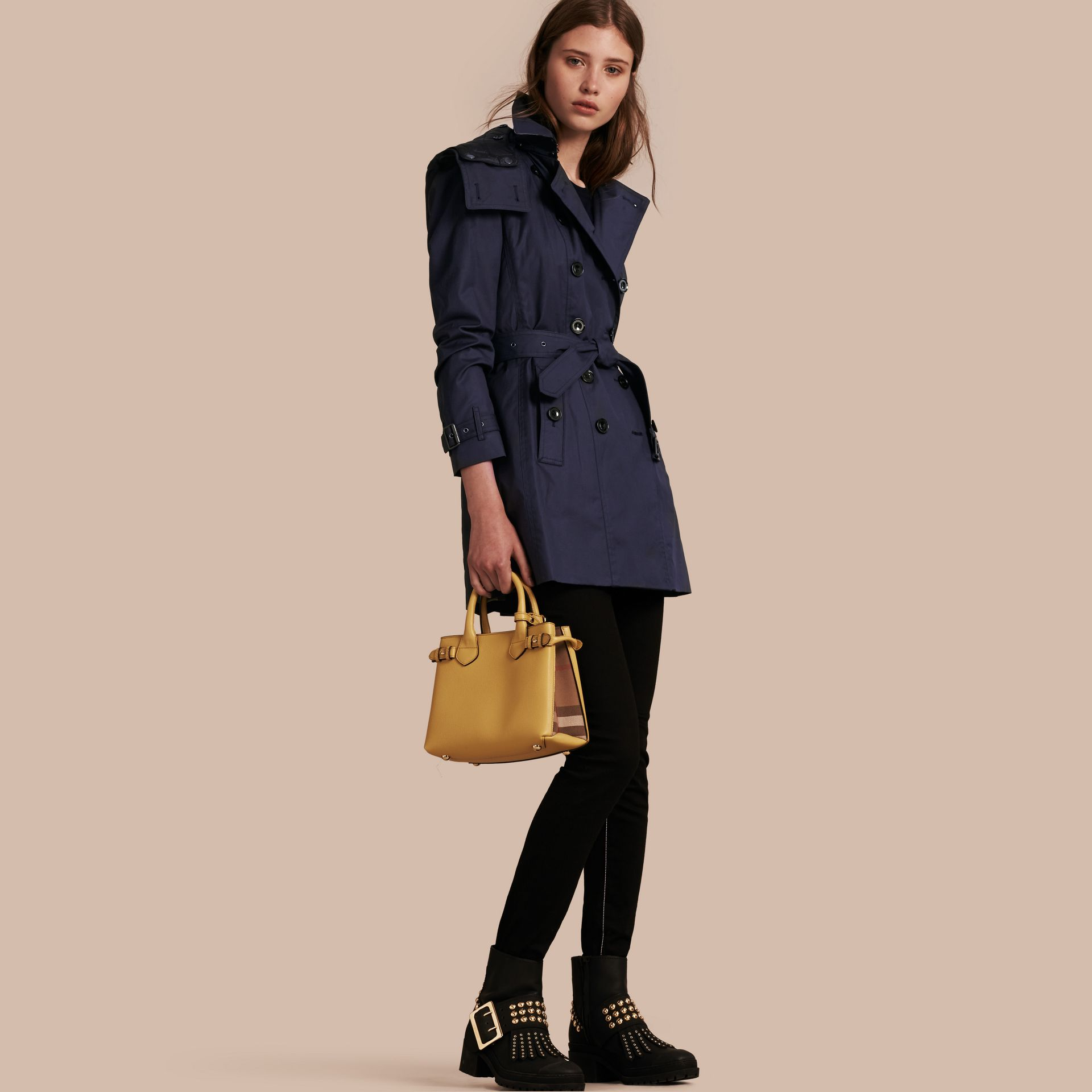 Navy Hooded Cotton Trench Coat with Warmer Navy - gallery image 1