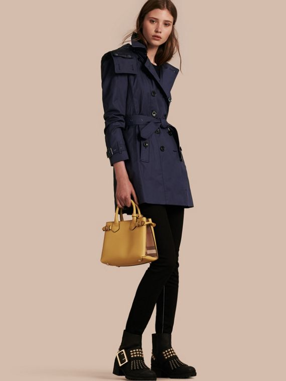 Hooded Cotton Trench Coat with Warmer Navy