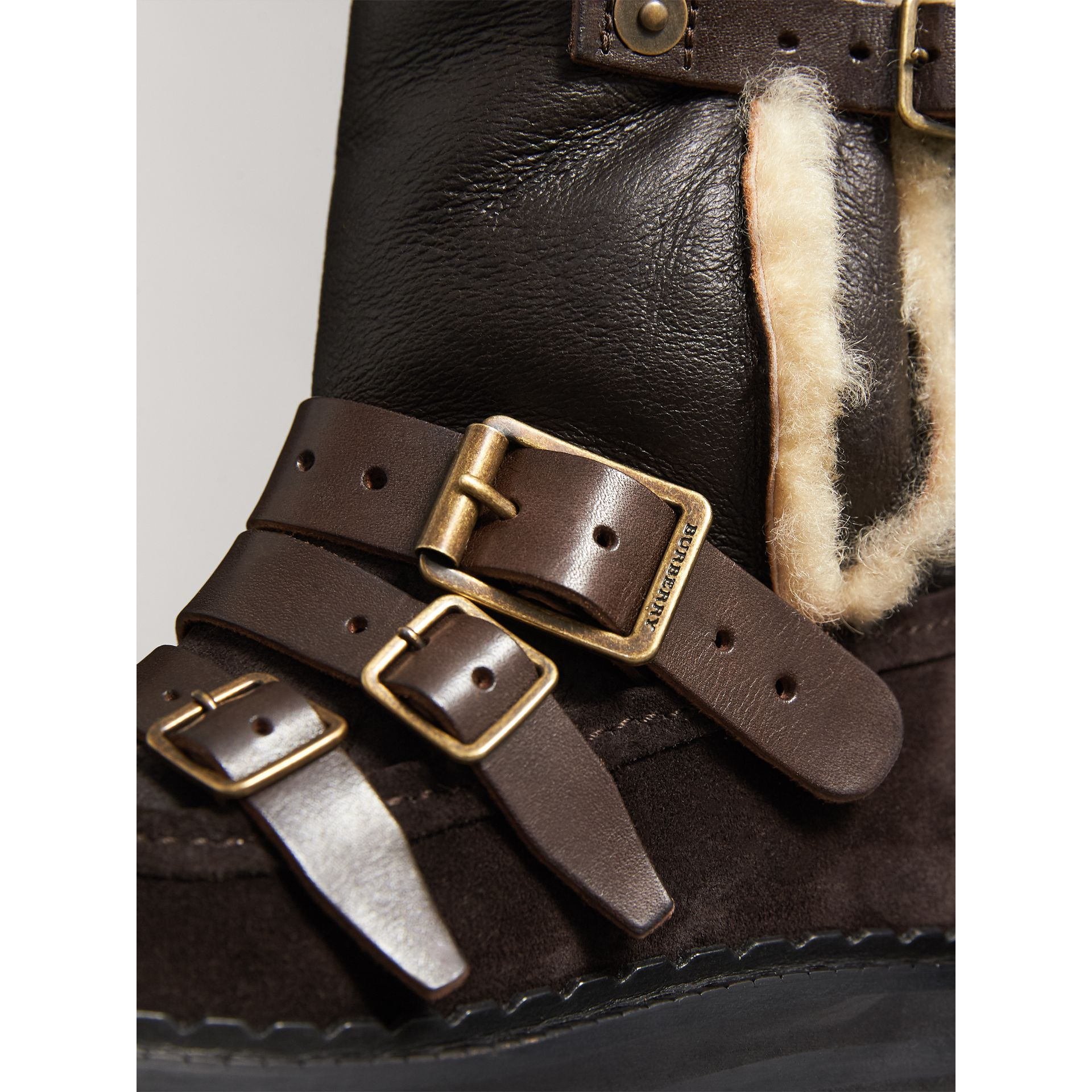 Buckle Detail Shearling and Suede Boots in Charcoal Brown - Women | Burberry - gallery image 2