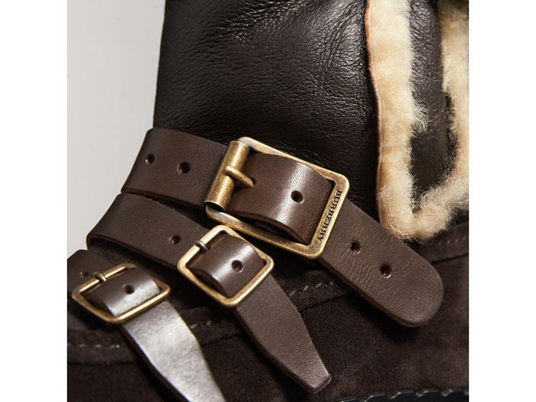 Buckle Detail Shearling and Suede Boots in Charcoal Brown - Women | Burberry United Kingdom - cell image 1
