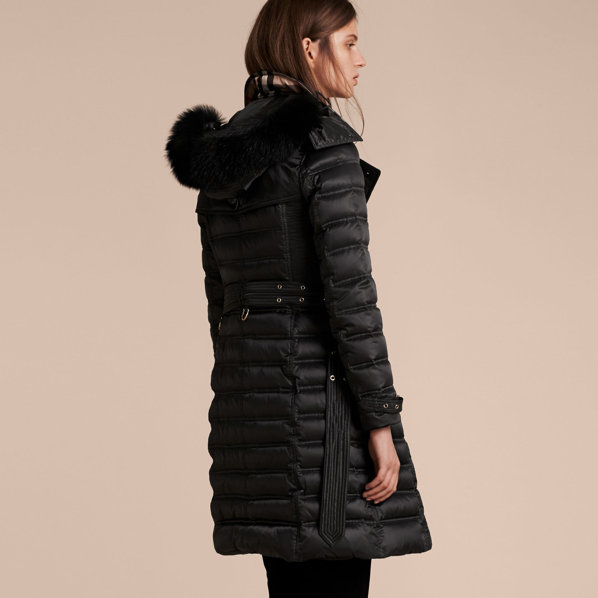 Black Down-Filled Puffer Coat with Fur Trim Black - gallery image 3