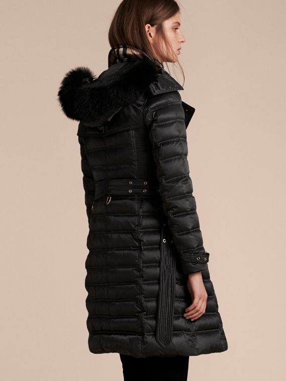 Black Down-Filled Puffer Coat with Fur Trim Black - cell image 2