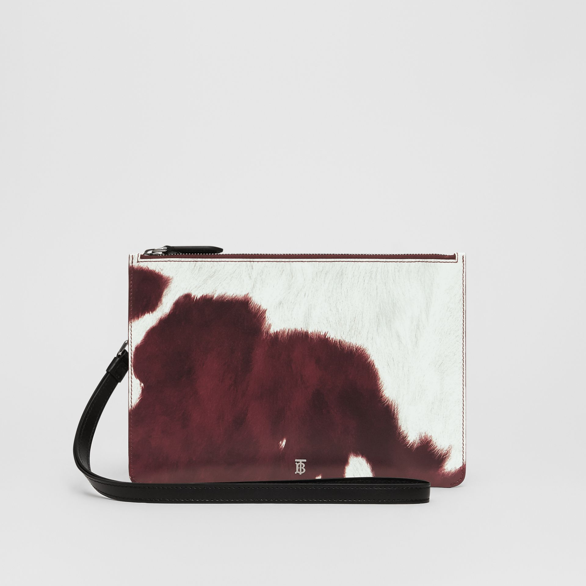 Cow Print Leather Zip Pouch in Mahogany - Women | Burberry - gallery image 0