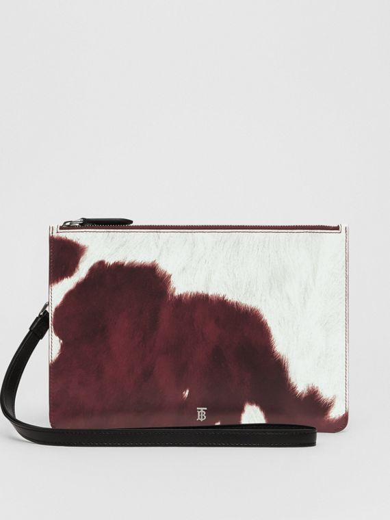 Cow Print Leather Zip Pouch in Mahogany