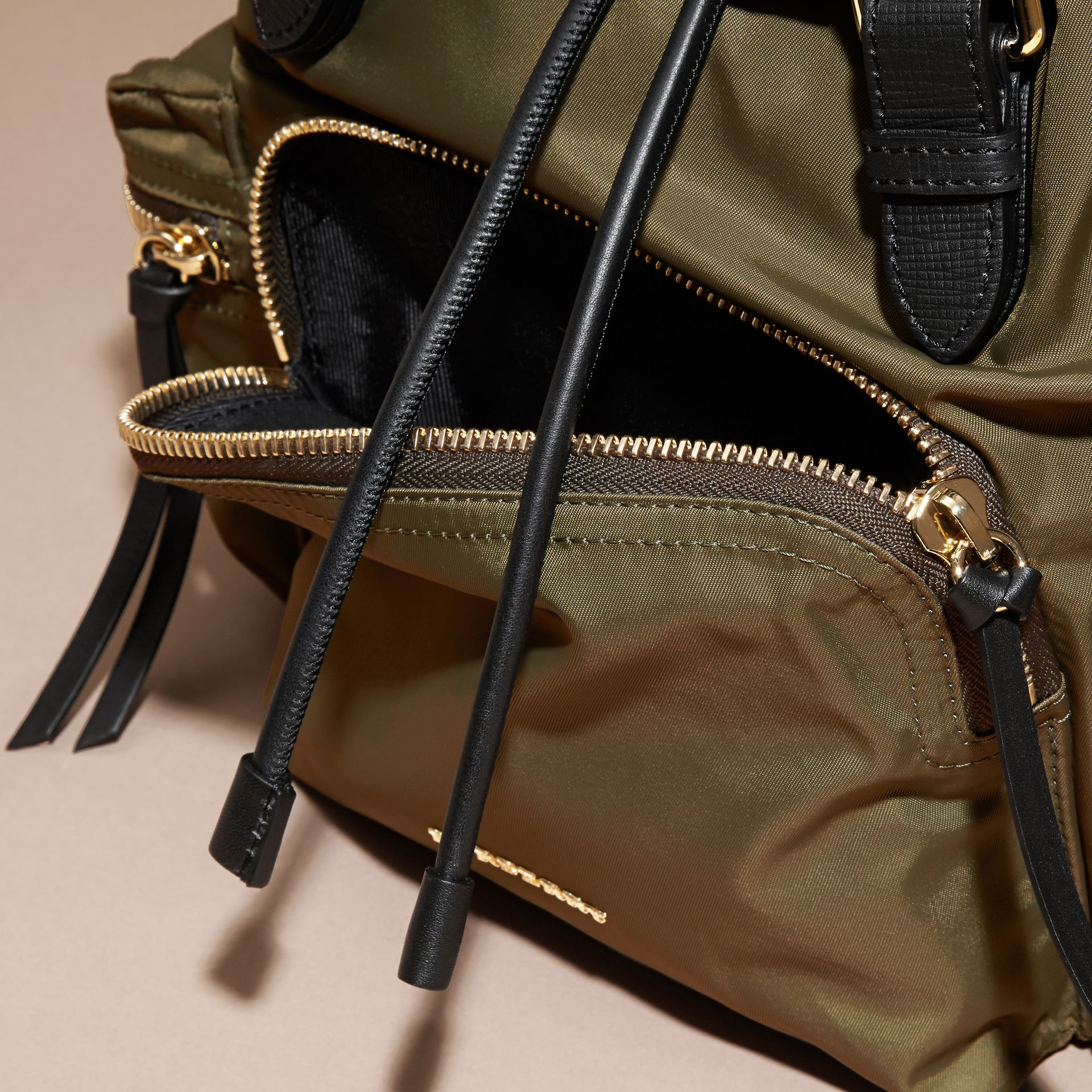 The Medium Rucksack in Technical Nylon and Leather in Canvas Green - gallery image 7