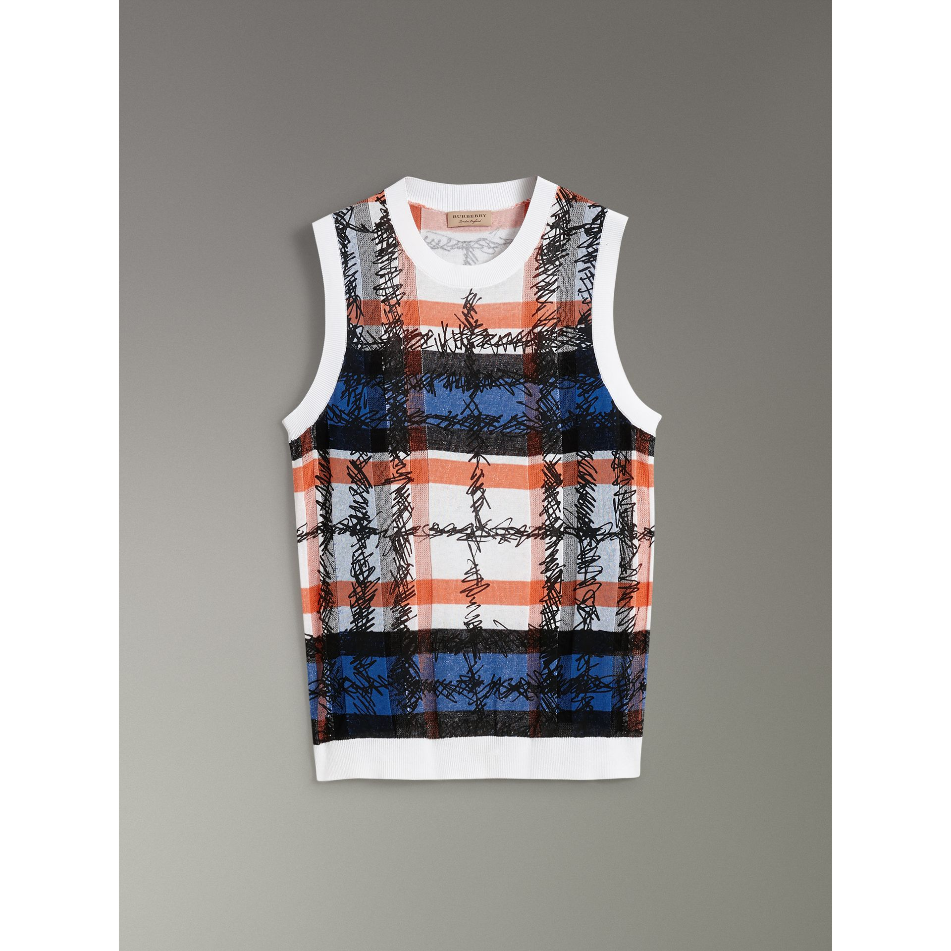 Scribble Check Cotton Crew Neck Tank Top in Cobalt Blue - Women | Burberry Singapore - gallery image 3