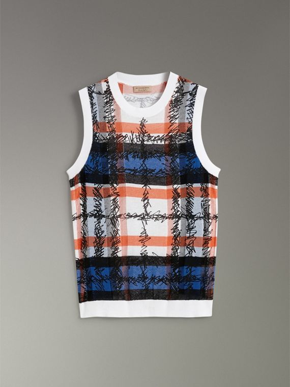Scribble Check Cotton Crew Neck Tank Top in Cobalt Blue - Women | Burberry Singapore - cell image 3