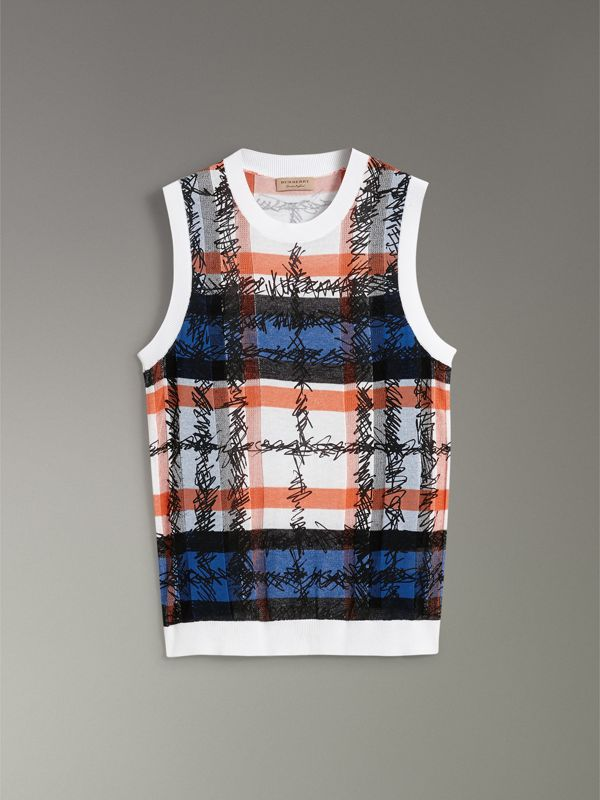 Scribble Check Cotton Crew Neck Tank Top in Cobalt Blue - Women | Burberry - cell image 3