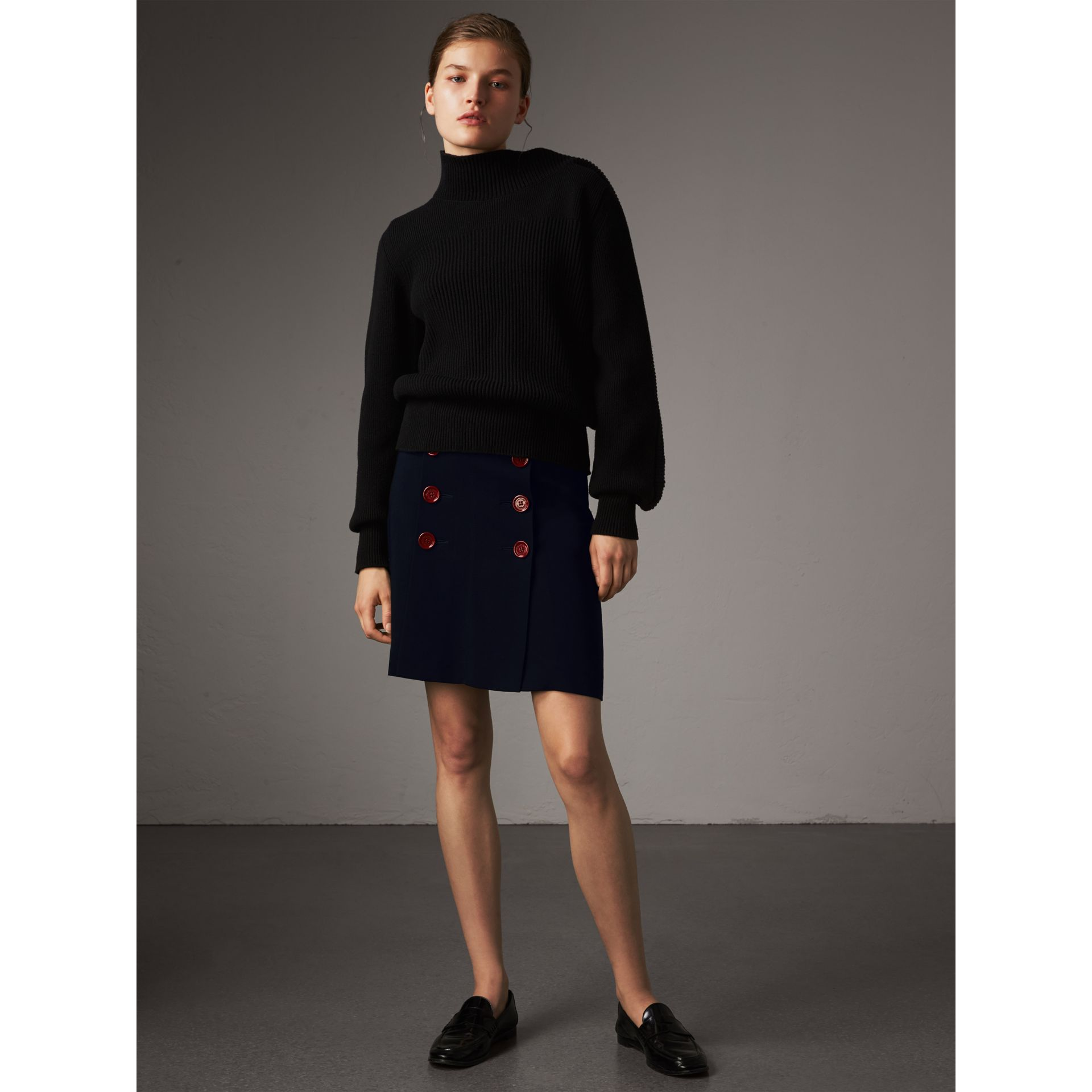 Resin Button Double-breasted Tailored Skirt in Navy - Women | Burberry Singapore - gallery image 5