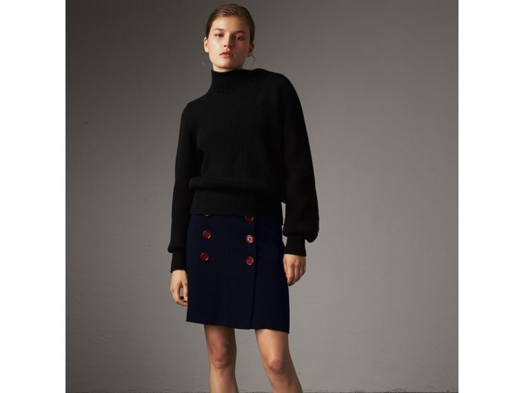 Resin Button Double-breasted Tailored Skirt in Navy - Women | Burberry Singapore - cell image 4