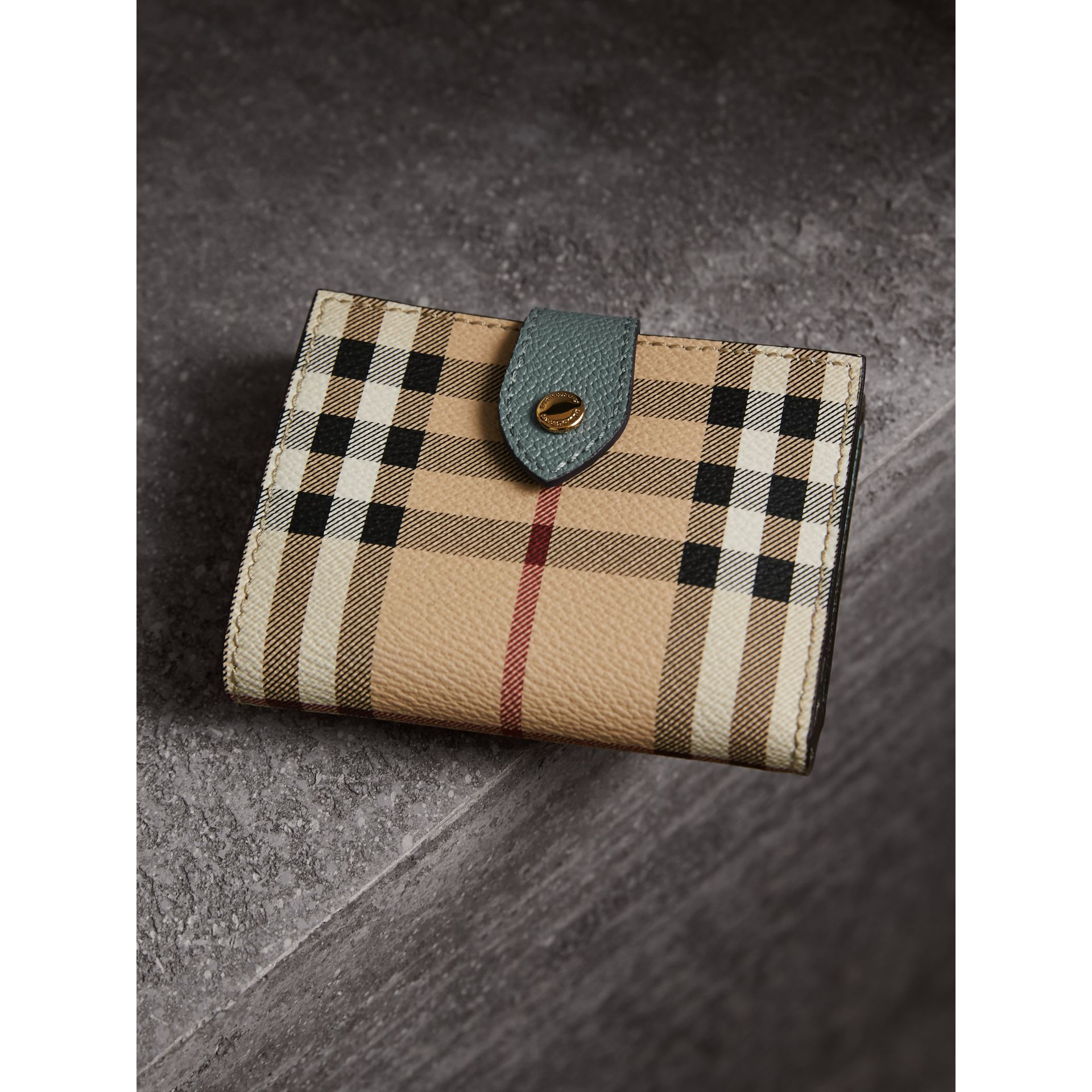 Leather and Haymarket Check Wallet in Eucalyptus Green/multicolour - Women | Burberry - gallery image 3