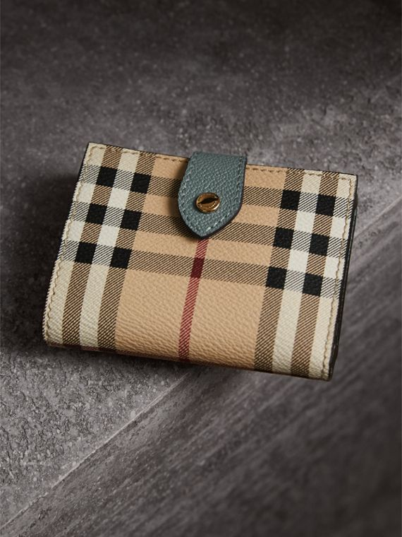 Leather and Haymarket Check Wallet in Eucalyptus Green/multicolour - Women | Burberry Australia - cell image 2