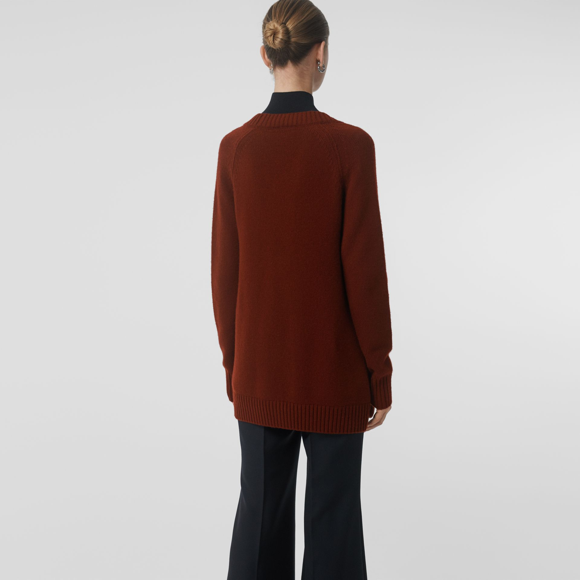 Logo Button Cashmere Cardigan in Dark Russet Brown - Women | Burberry Singapore - gallery image 2