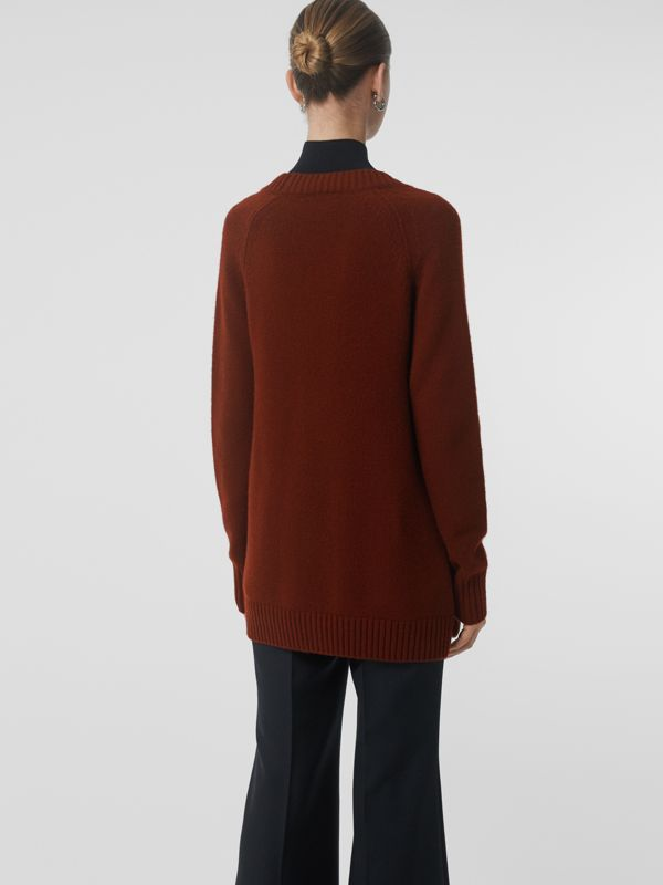Logo Button Cashmere Cardigan in Dark Russet Brown - Women | Burberry - cell image 2