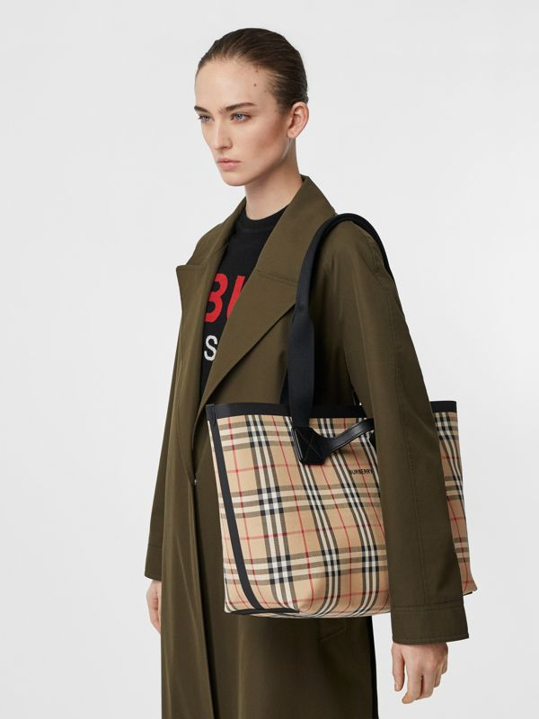 Medium Vintage Check Austen Tote in Archive Beige - Women | Burberry - cell image 2